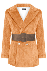 HYDRA BLAZER - ORANGE WITH CHOCOLATE BROWN BELT