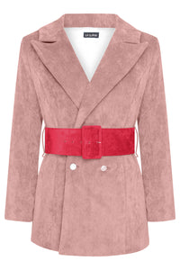 HYDRA BLAZER - DUSKY PINK WITH RED BELT