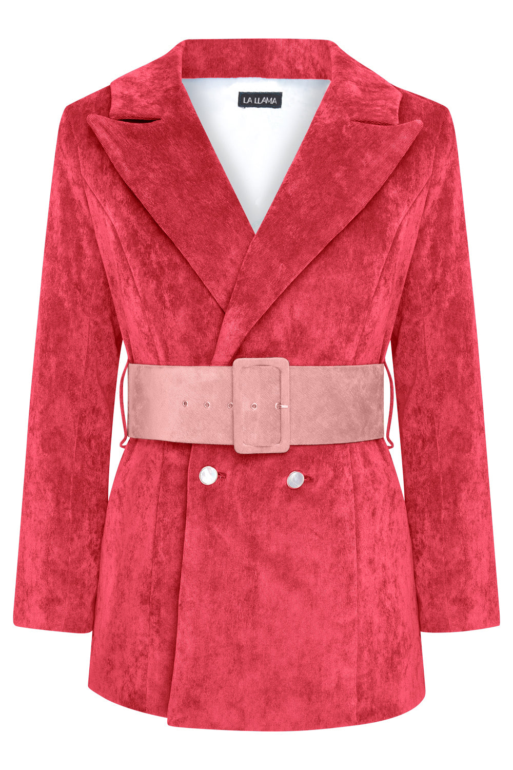 HYDRA BLAZER - RED WITH DUSKY PINK BELT