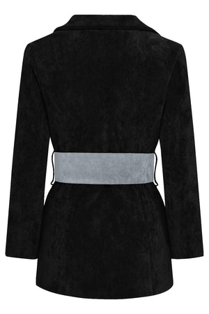 HYDRA BLAZER - BLACK WITH DUSKY BLUE BELT