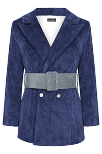 HYDRA BLAZER - NAVY WITH DUSKY BLUE BELT