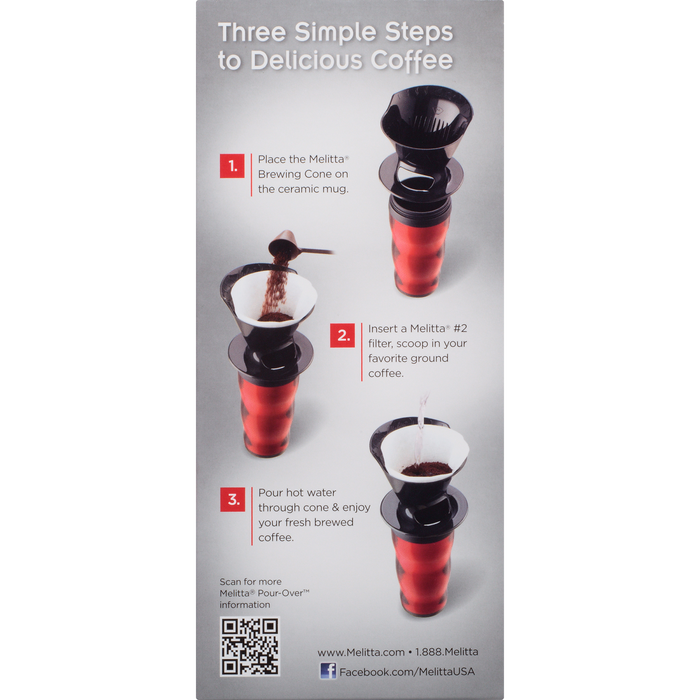 1-Cup Pour-Over™ Coffee Brew Cone & Travel Mug Set - Red