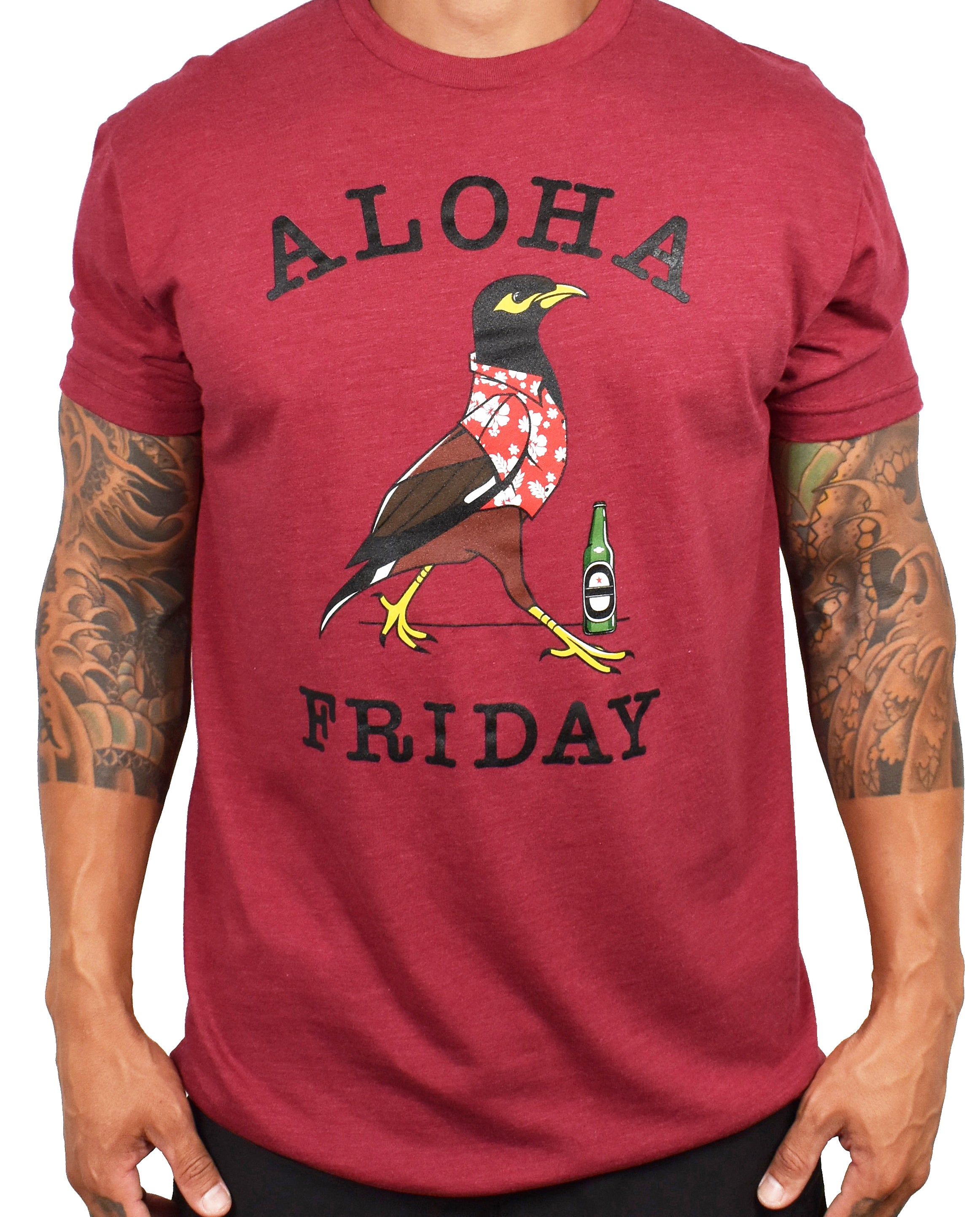 Men's 'Aloha Friday - Myna' Tee - Cardinal