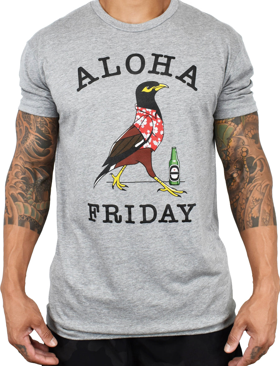 Men's 'Aloha Friday - Myna' Tee - Grey