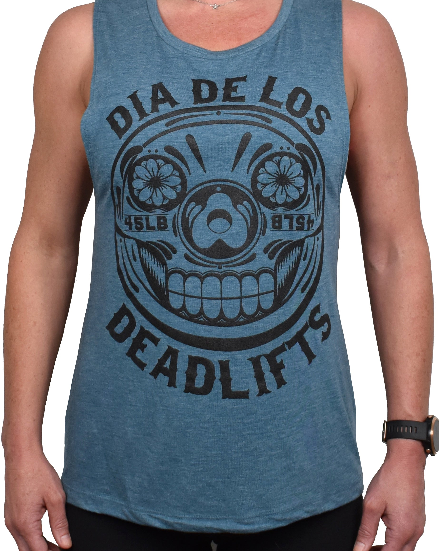 Women's 'Dia de los Deadlifts' Muscle Tank - Black on Marine
