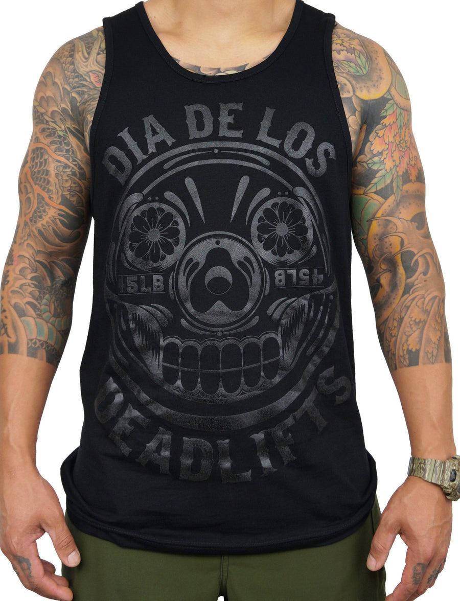 Men's 'Dia de los Deadlifts' Tank - Black on Black