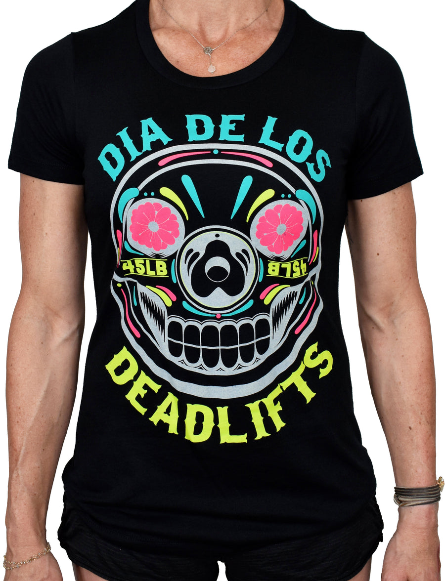 Women's 'Dia de los Deadlifts' Black Tee - Neon Edition
