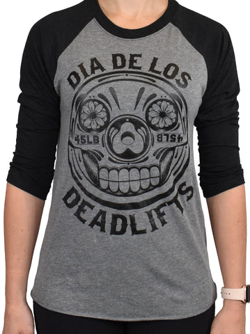 'Dia de los Deadlifts' 3/4 RAGLAN - Black/Grey