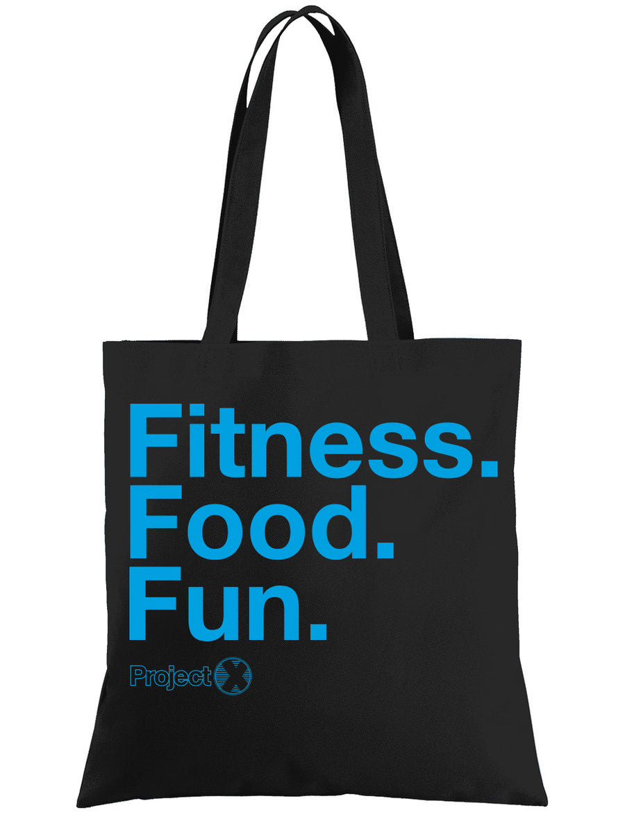 'FITNESS. FOOD. FUN.' Tote