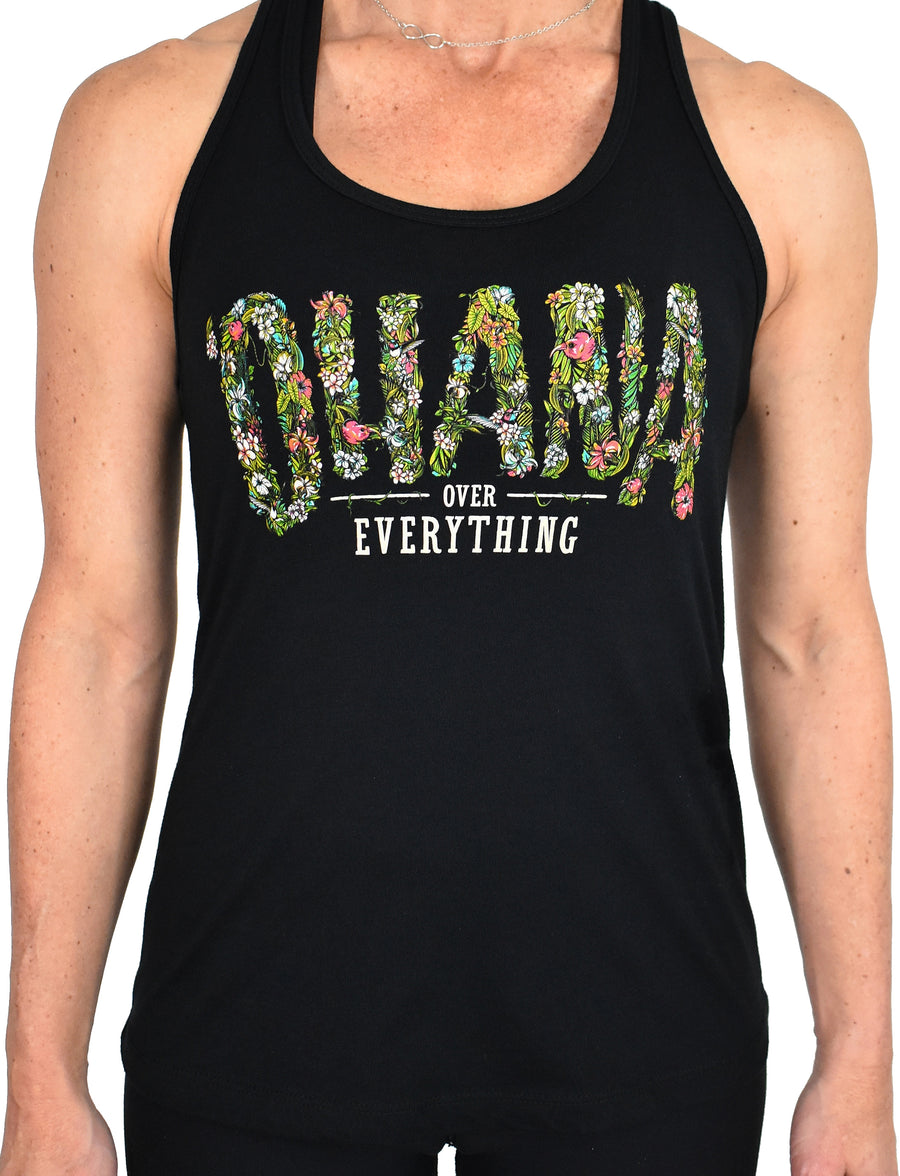 Women's 'Ohana Over Everything' Racerback Tank - Black