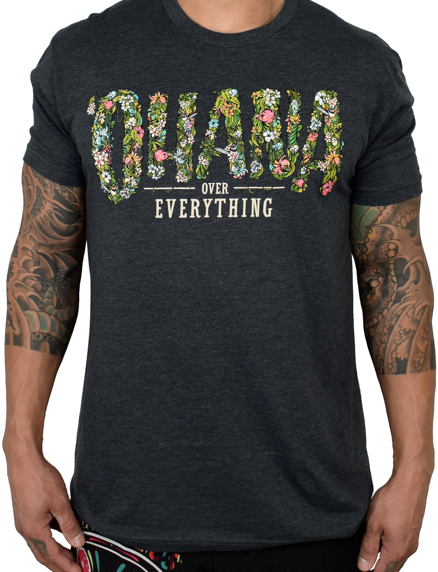 Men's 'Ohana Over Everything' Tee - Charcoal