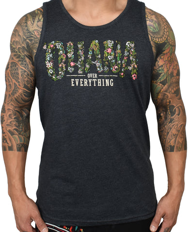 Men's 'Ohana Over Everything' Tank - Charcoal