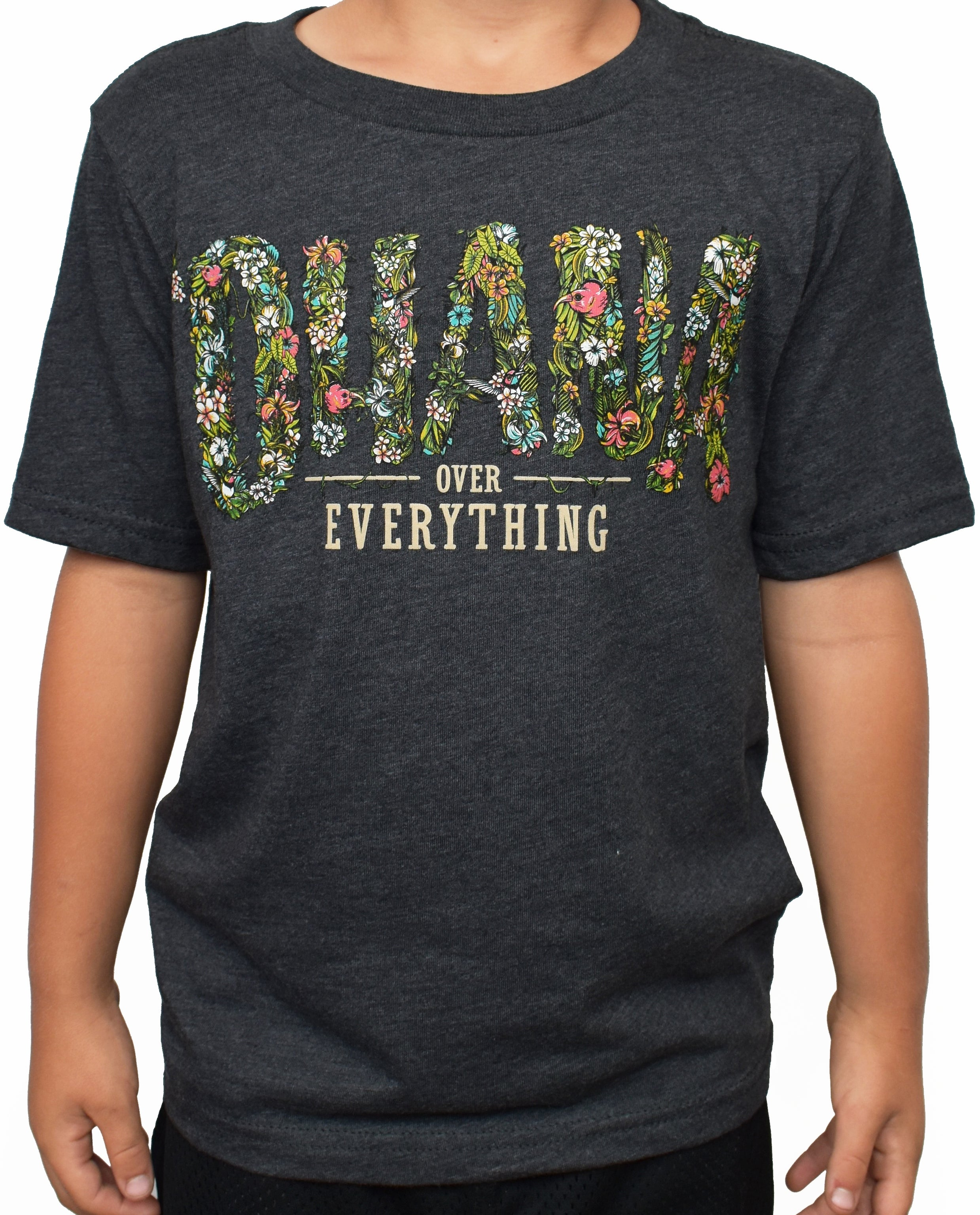 Kid's 'Ohana Over Everything' Tee - Charcoal