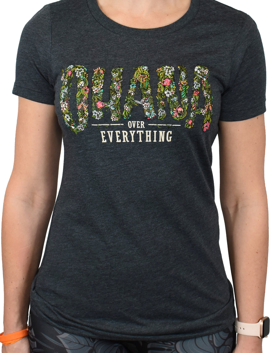 Women's 'Ohana Over Everything' Tee - Charcoal