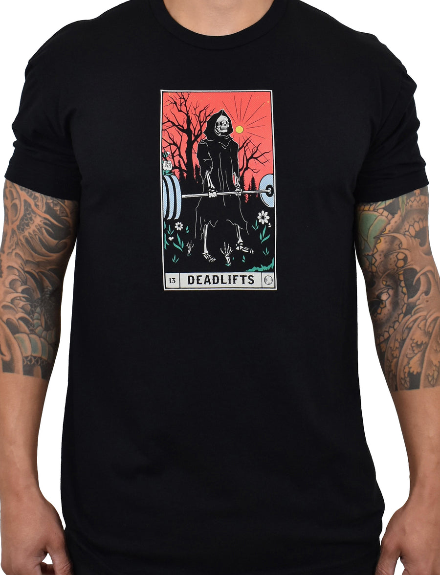 Men's 'DEADLIFTS Tarot Card' Tee - Black