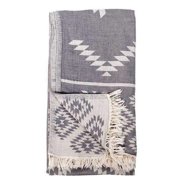 Pokoloko Turkish Towel - Geometric Spanish Grey