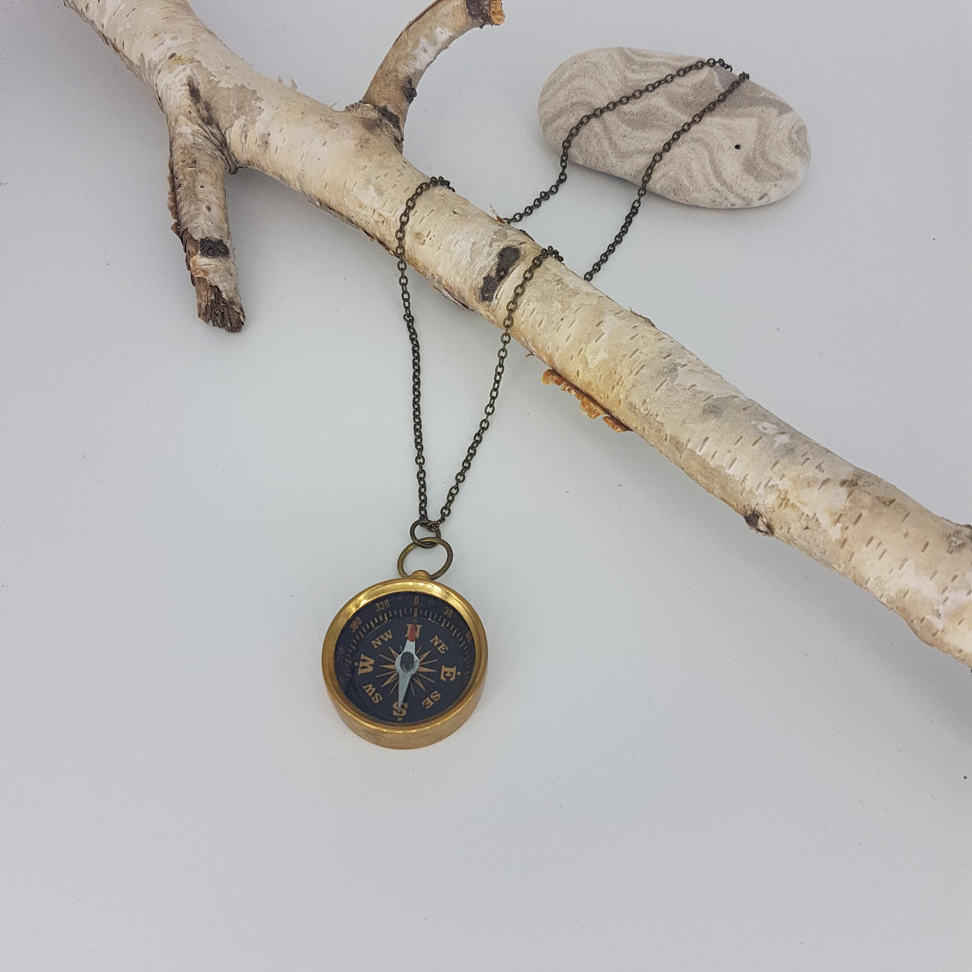 True North Brass Compass Necklace