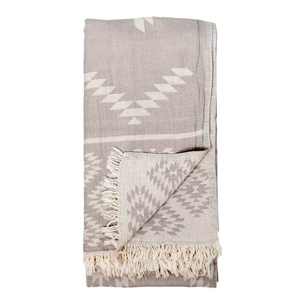 Pokoloko Turkish Towel - Geometric Pebble Grey
