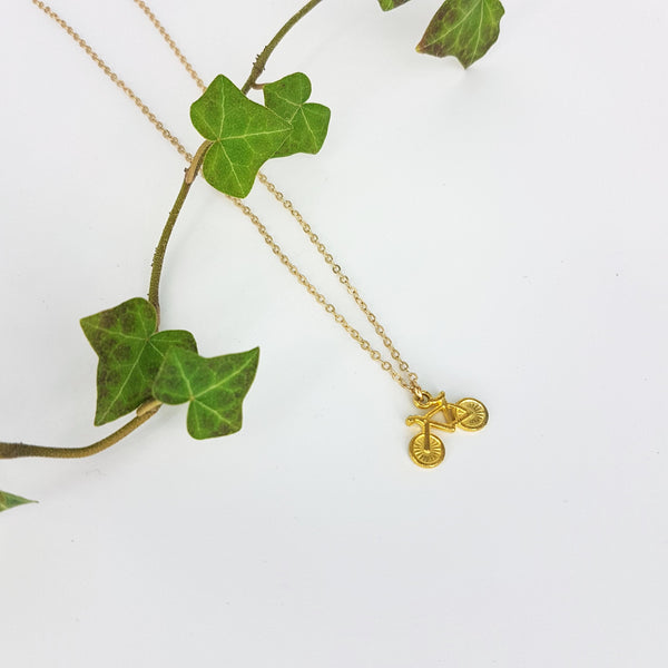 Pika & Bear Tiny Bicycle Charm Necklace Gold