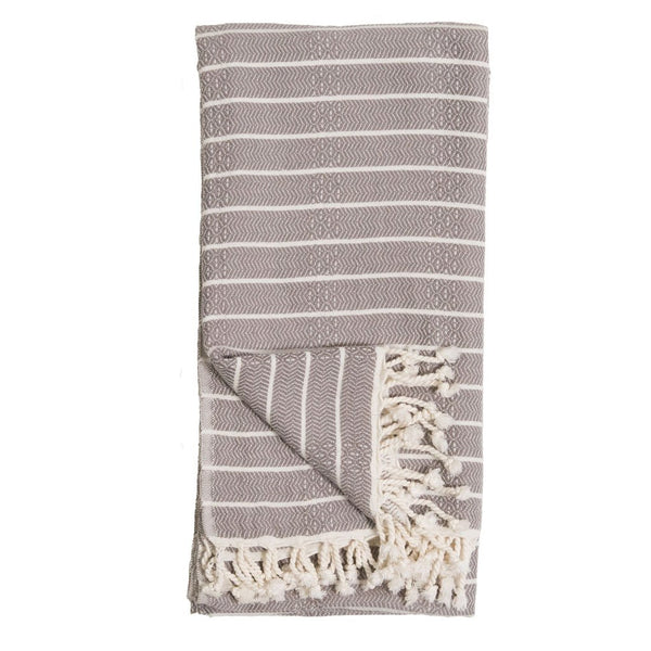 Pokoloko Turkish Towel Bamboo Striped Slate