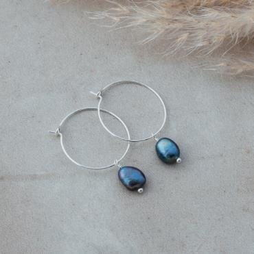 Bellamy Hoops - Silver - Oil Pearl