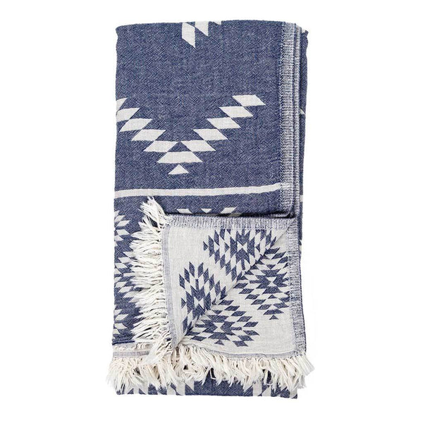 Pokoloko Turkish Towel - Geometric Cowboy Denim