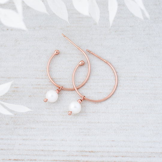 Passion Hoops - White Pearl - Rose Gold