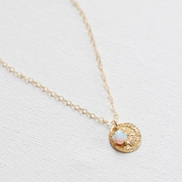 Small Gold Coin and Opal Accent Necklace with Dainty Chain