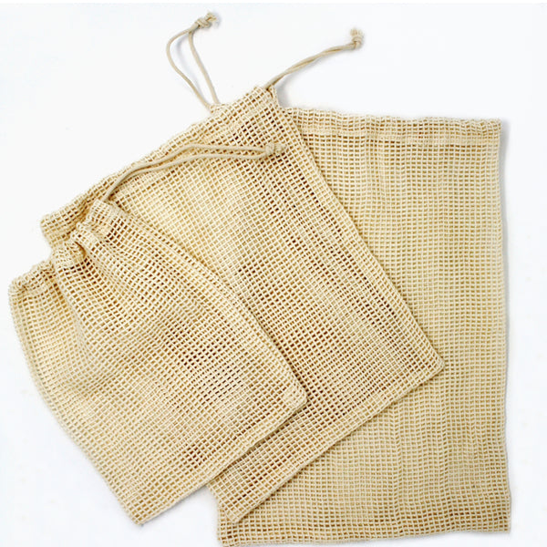 Cotton Mesh Produce Reusable Bags - 3 pack