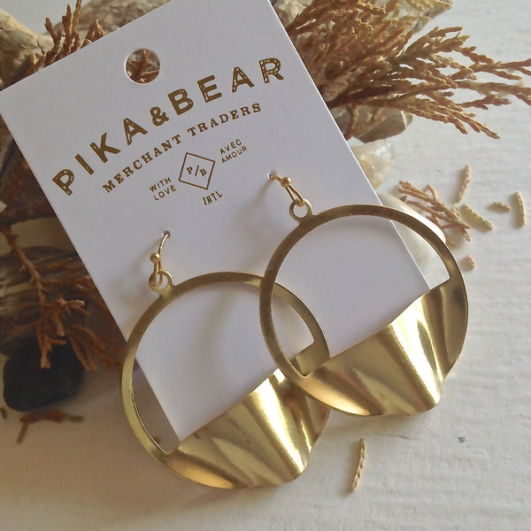 """Pneuma"" Abstract Hoop Earrings - Brass"