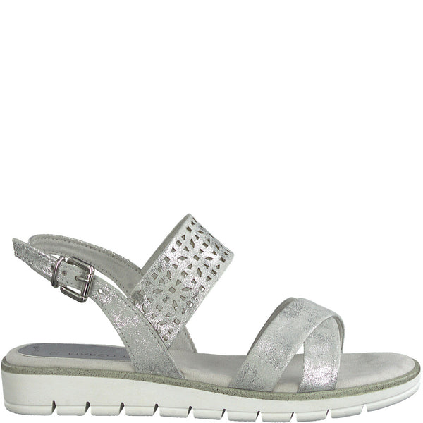 Flat summer sandal from MarcoTozzi. Cushioned insole. Adjustable buckle strap.