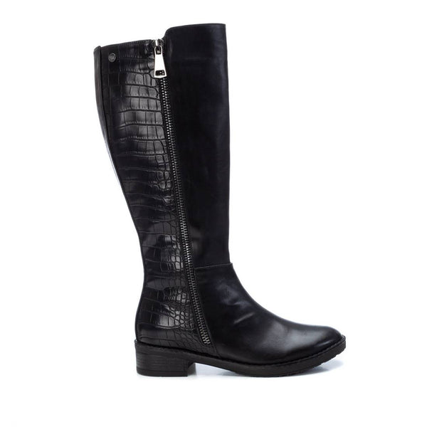 Knee high boot from XTI with plain toe and subtle croc print on calf and heel. Available from www.moransshoes.com