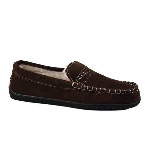Bernard Brown. Men's dark brown leather moccasin slipper with fleece lining. Available from www.moransshoes.com