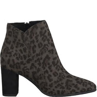 MarcoTozzi 25349 Dark Grey Multi. Ankle Boot with 6cm Heel. Morans Shoes