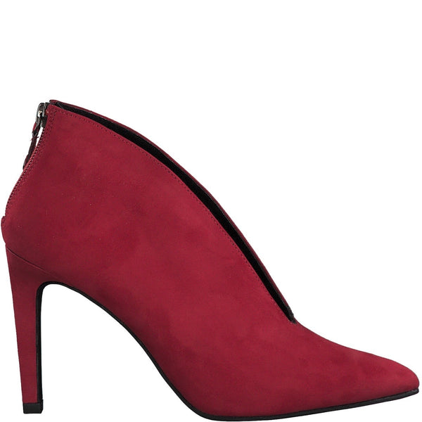 Gorgeous red ankle shoe from MarcoTozzi with V cut on instep and zip fastening on heel. Available from www.moransshoes.com