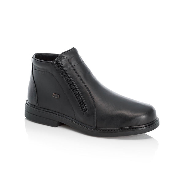 Men's ankle boot from Rieker. Soft leather uppers with a fleece lining. Double zit with a wide fit. Available from www.moransshoes.com