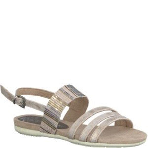 Flat rose metallic sandal from MarcoTozzi with adjustable buckle heel strap and cushioned insole.