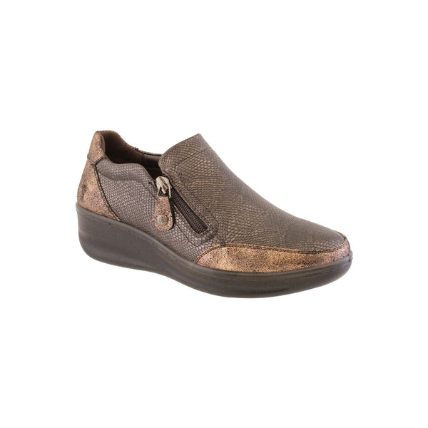 Autumn shoe in bronze from Propét with double zip for easy fit. Removable insole with arch support and heel cushioning. Available from www.moransshoes.com
