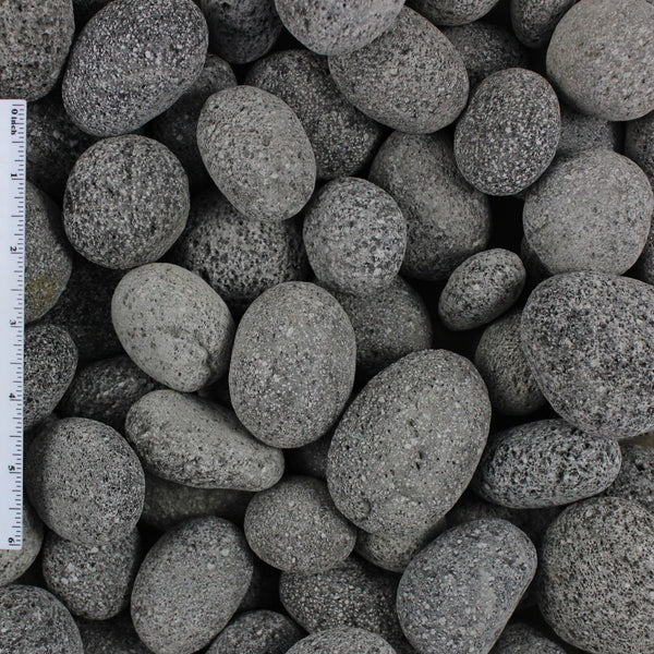 Black Lava Pebble Sample Photo that shows the grain of the stone
