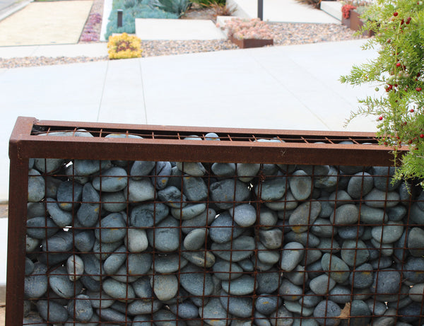 Black Beach Pebble Gabion Wall