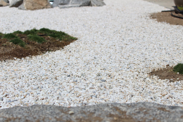 White gravel closeup in a ground application