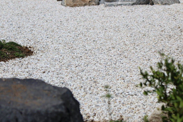 White gravel in a rock garden application