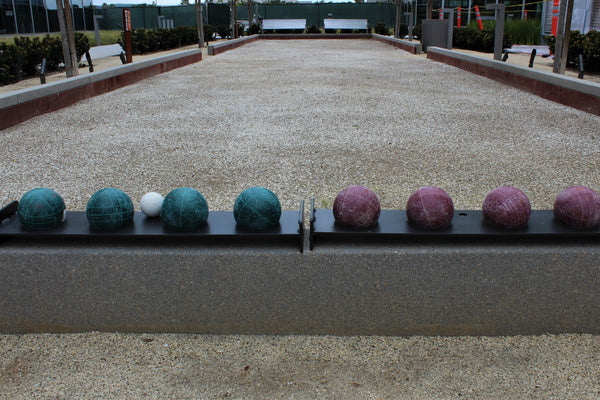 Bocce ball court setup with balls