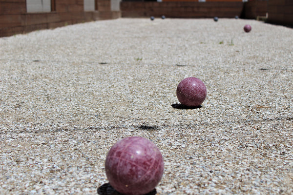 Bocce ball court with balls