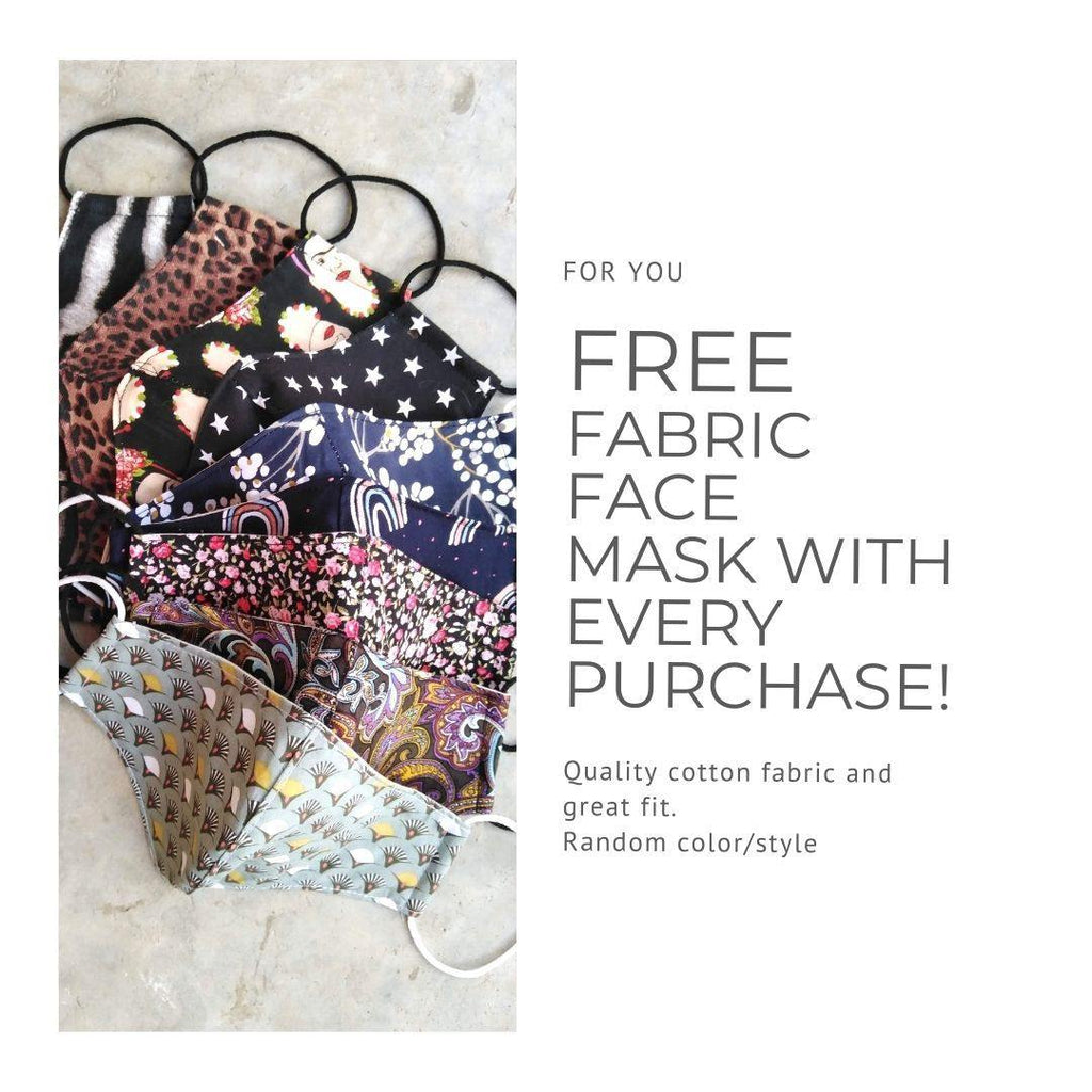 Free fabric face mask with every purchase 😷🙌