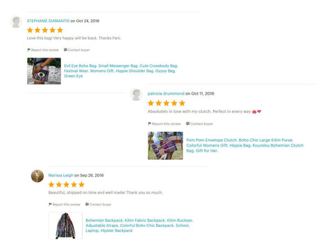 Customer reviews on Etsy