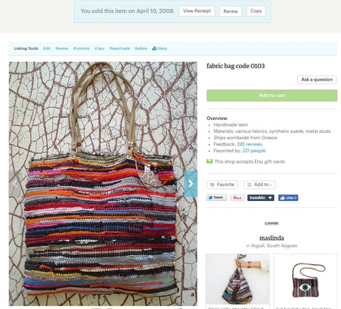 First bag l ever sold on Etsy