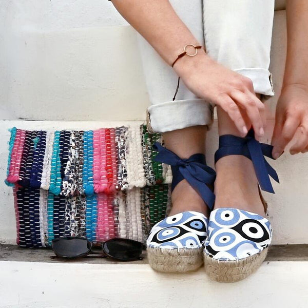 Espadrilles Sandals Evil Eye - Maslinda Designs