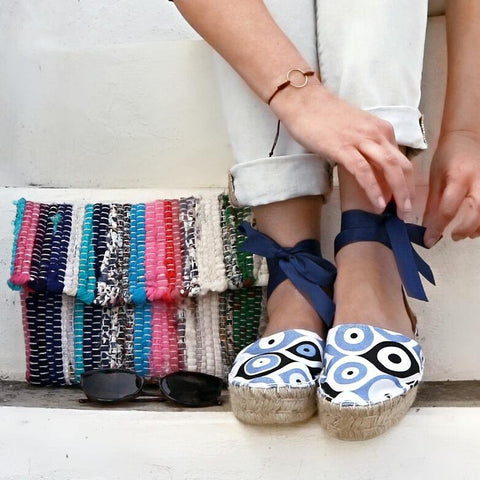 ESPADRILLES SANDALS - EVIL EYE - Maslinda Designs