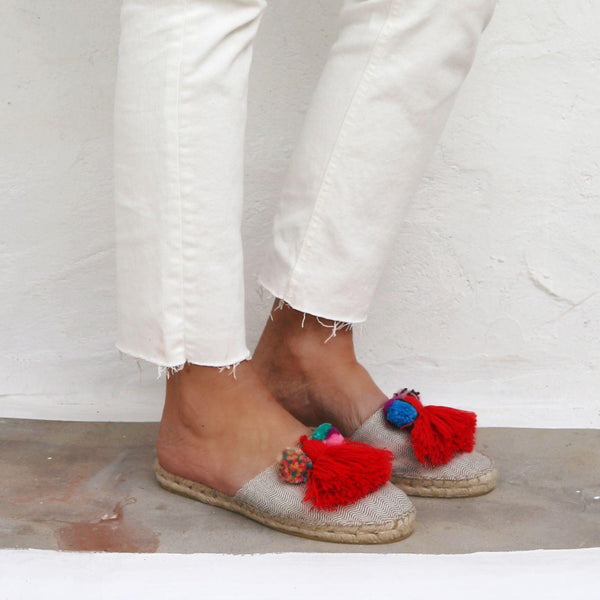 Espadrilles Slippers  - RED TASSEL - HERRINGBONE - Maslinda Designs